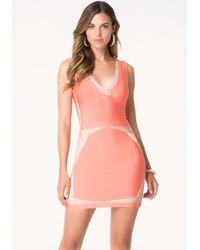 Bebe - Red Contrast Edge Bandage Dress - Lyst