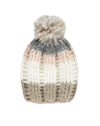 Forever 21 - Natural Striped Knit Pom Beanie - Lyst
