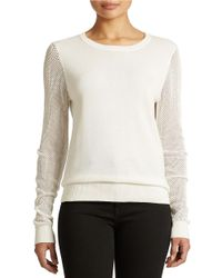 DKNY | White Mesh Knit Pullover | Lyst