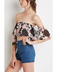 Forever 21 | Multicolor Floral Off-the-shoulder Crop Top | Lyst