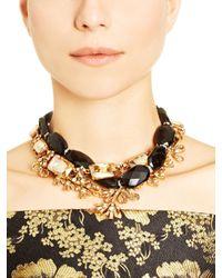 Oscar de la Renta   Black Glass Crystal Necklace   Lyst