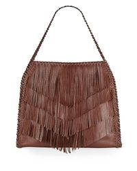 Sondra Roberts | Brown Fringed Faux Leather Hobo | Lyst