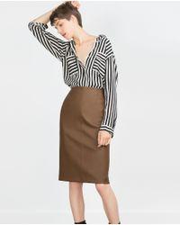 Zara   Brown Tube Skirt   Lyst