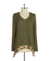 Lord & Taylor - Green Crocheted Layered-effect Top - Lyst