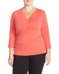 Ellen Tracy | Orange Faux-Wrap Jersey Top | Lyst