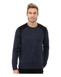 Calvin Klein | Blue Cotton Poly Heather & Ponte Crew Neck Sweater for Men | Lyst