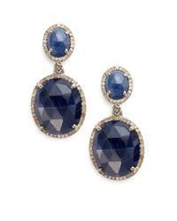 Bavna | Blue Champagne Rose-cut Diamond, White Diamond, Sapphire & Sterling Silver Earrings | Lyst
