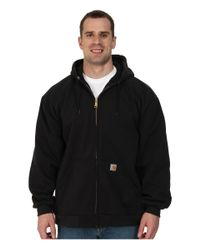 Carhartt | Black Big & Tall Rain Defender™ Rutland Thermal Lined Hooded Zip Front Sweatshirt for Men | Lyst