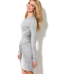 AKIRA | Gray Drop Knot Knit Dress | Lyst