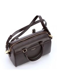 Saint Laurent - Brown Bordeaux Leather Convertible Mini Duffle Bag - Lyst