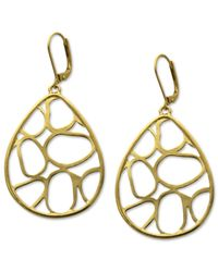 T Tahari | Metallic 14k Gold Plated Essentials Oval Openwork Drop Earrings | Lyst