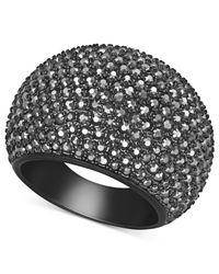 Swarovski - Black Pvd Jet Hematite Crystal Dome Ring - Lyst
