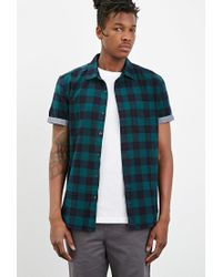 Forever 21 - Green Chambray-trimmed Buffalo Plaid Shirt for Men - Lyst
