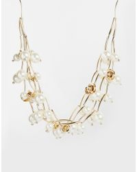 Oasis | Natural Oversize Faux Pearl Flower Necklace | Lyst