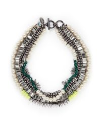 Venna | Metallic Crystal Bead Multi Chain Necklace | Lyst