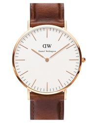 Daniel Wellington - Brown 'classic St. Mawes' Leather Strap Watch - Lyst