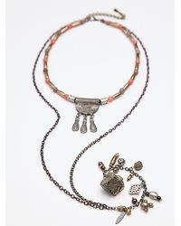 Free People - Metallic Womens Hi Lo Collar Pendant - Lyst