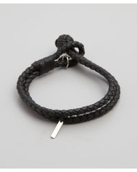 Bottega Veneta | Dark Blue Intrecciato Leather Doubled Bracelet for Men | Lyst