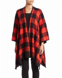 Kensie | Red Checked Open-front Poncho | Lyst