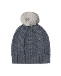 Tory Burch | Gray Large Cable-knit Pom-pom Hat | Lyst