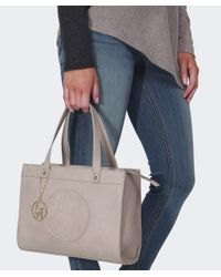 Armani Jeans | Natural Small Leather Shopper Bag | Lyst