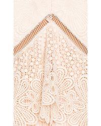 Self-Portrait | White Pleated Lace & Crepe-Blend Peplum Midi Dress | Lyst