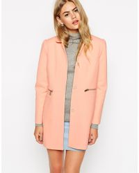 ASOS | Coat With Peter Pan Collar - Blue | Lyst