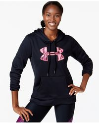 Under Armour | Black Big Logo Armour Fleece Hoodie | Lyst