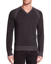 Robert Graham - Black Regan V-neck Wool Sweater for Men - Lyst