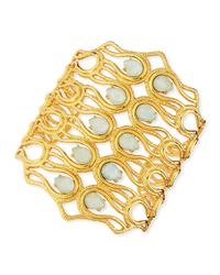 Alexis Bittar - Metallic Aigrette Scalloped Bracelet with Amazonite - Lyst