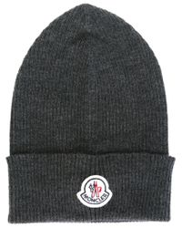 Moncler - Gray Classic Beanie for Men - Lyst