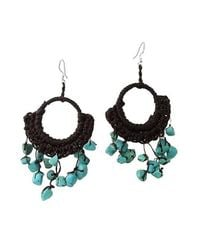 Aeravida | Black Turquoise Chandelier Hoop Dangle 925 Silver Earrings | Lyst
