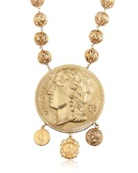 Dolce & Gabbana - Metallic Gold Plated Coin Pendant Necklace - Lyst
