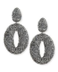 Oscar de la Renta - Metallic Oscar O Crystal Clip Earrings Silver - Lyst