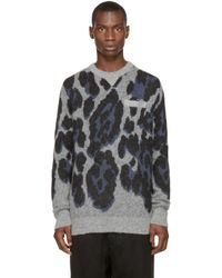 Sacai | Gray Grey And Blue Leopard Print Sweater for Men | Lyst
