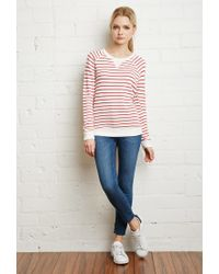 Forever 21 | Natural Striped French Terry Sweater | Lyst