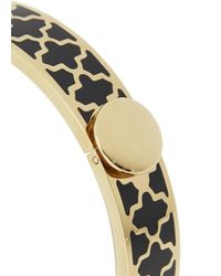 Halcyon Days - Black Agama Gold Plated Enamel Bangle - Lyst