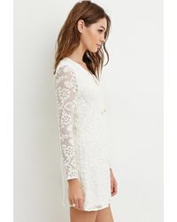Forever 21 - Natural Embroidered Lace Mini Dress - Lyst