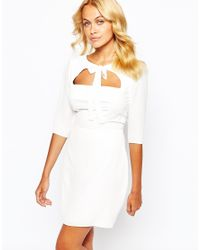Love | Natural Bow Front Skater Dress With Open Bodice Detail - Cream | Lyst