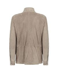 Brunello Cucinelli - Natural Perforated Suede Field Jacket for Men - Lyst