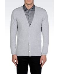 Emporio Armani - Gray Cashmere Cardigan for Men - Lyst