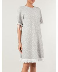 T By Alexander Wang - Gray Frayed Burlap Dress - Lyst