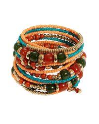 Cara - Multicolor Beaded Coil Bracelet - Lyst