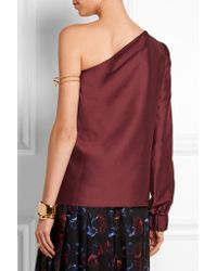 Zeus+Dione | Purple Agnes One-sleeve Silk-shantung Top | Lyst