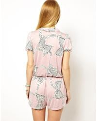 Traffic People - Pink Zebra Bow Print Playsuit - Lyst