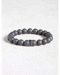 John Varvatos - Gray Hematite Beaded Bracelet With Sapphire Detail for Men - Lyst