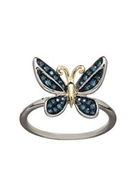 Lord & Taylor | Green 14k Yellow Gold Sterling Silver And Diamond Butterfly Ring | Lyst