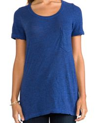 Monrow - Granite Pocket Tee in Blue - Lyst