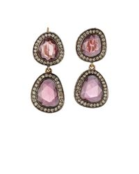 Munnu | Pink Mixed-gemstone Double-drop Earrings | Lyst