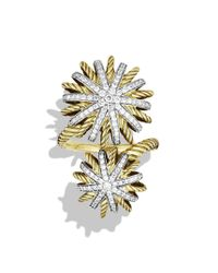 David Yurman | Metallic Starburst Open Ring with Diamonds in Gold | Lyst